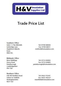 Get the latest H&V Insulation Price List